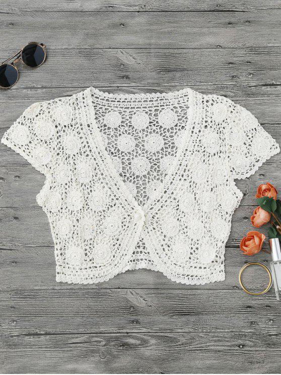 One Button Plunging Neck Crochet Cover Up - Blanc L