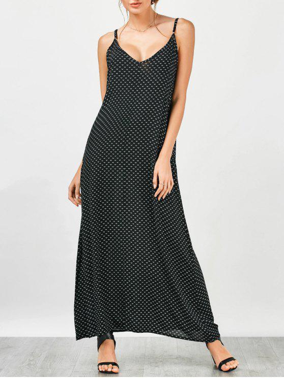 القلب طباعة فستان ماكسي زلة - أسود L