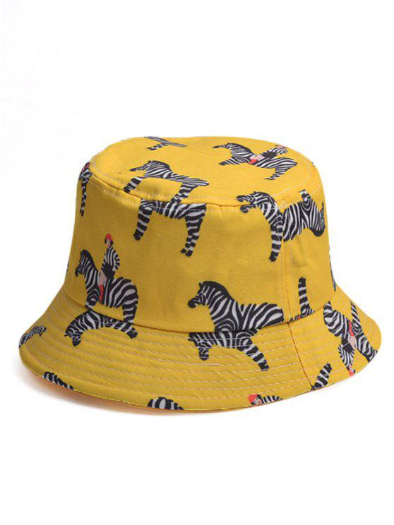 affordable Cartoon Zebra Pattern Bucket Hat - YELLOW