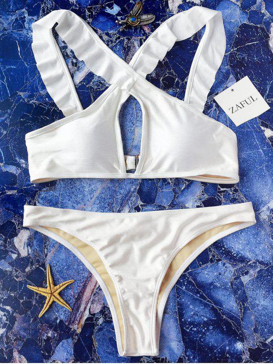 Bikini con Thong con Tirante Cruzado con Volante Frontal - Blanco M