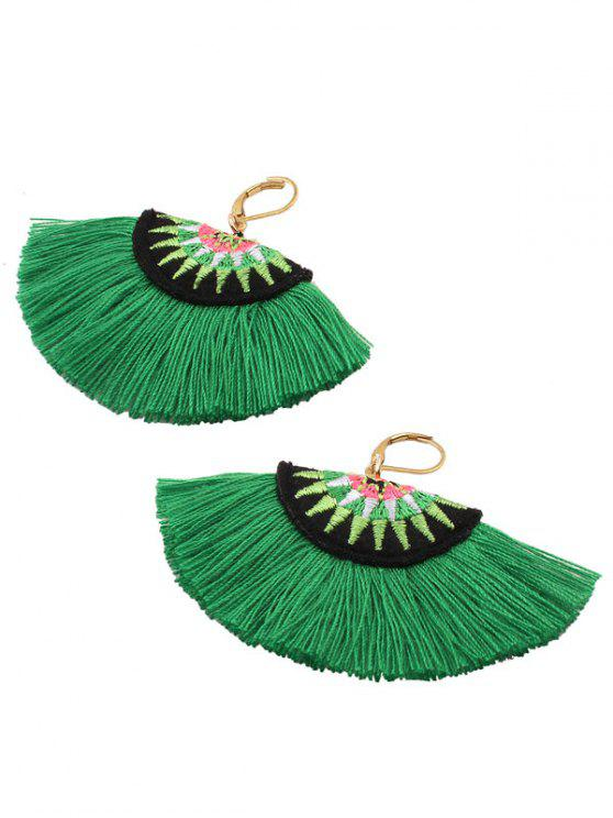 Fan-Shaped Embroidery Ethnic Tassel Earrings