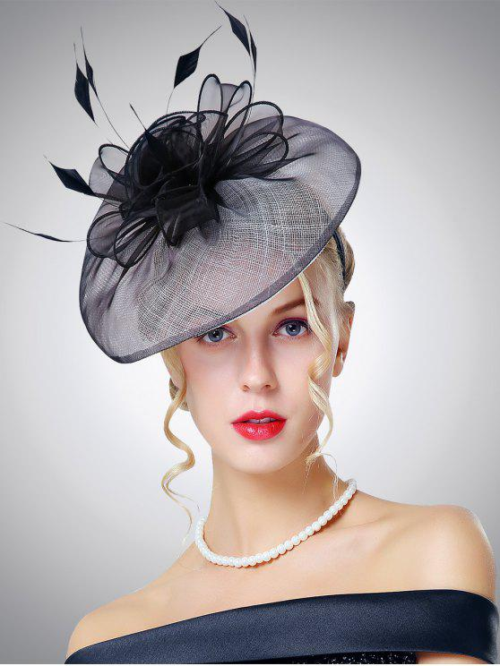Organza Feather Chapeau de cocktail en forme de fleurs - Noir