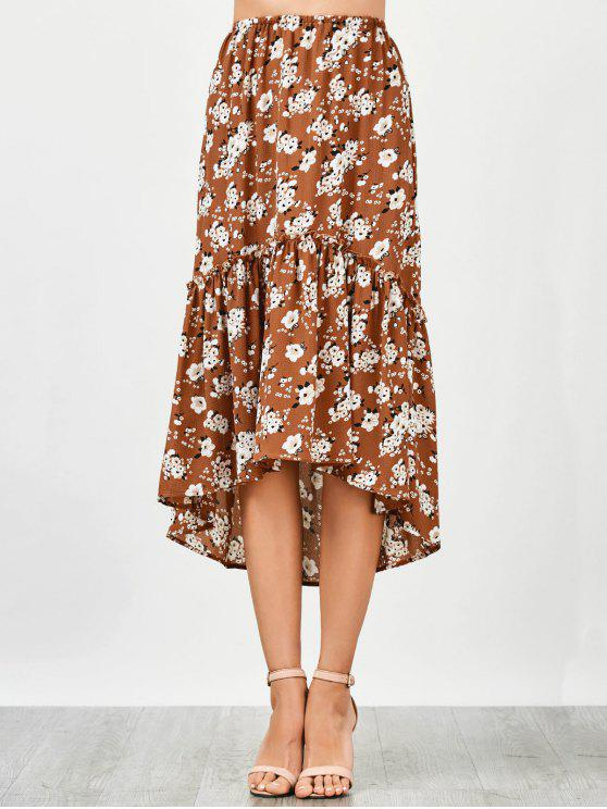 affordable Ruffles Asymmetrical Beach Midi Skirt - FLORAL L
