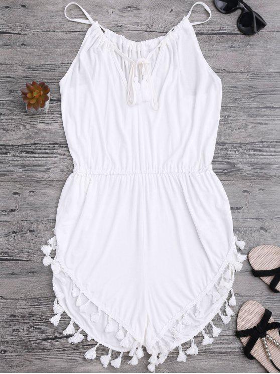 lady Tassel Cover Up Dolphin Romper - WHITE S