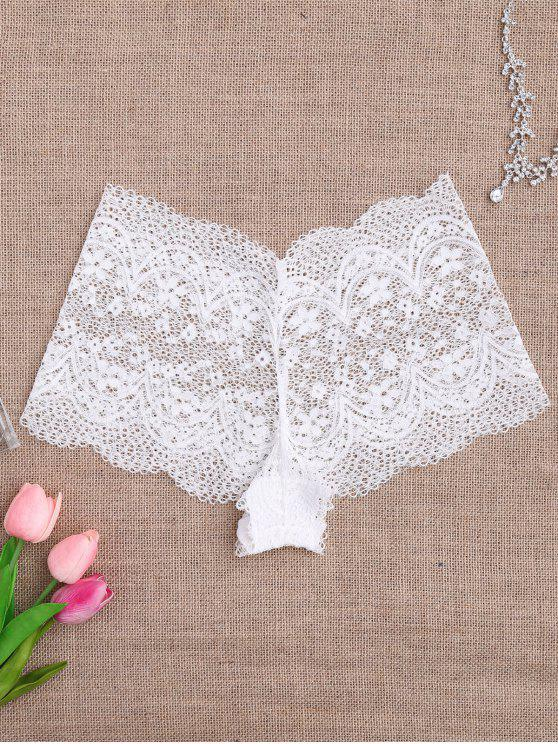 Culotte en dentelle en crochet transparent - Blanc M