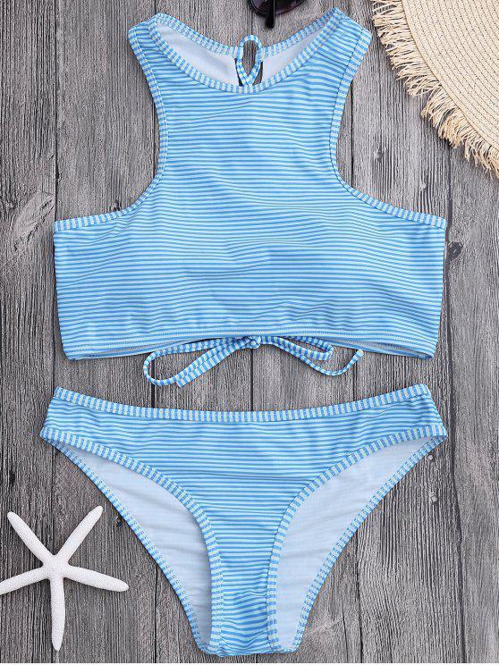 fancy High Neck Stripe Lace Up Bikini - LIGHT BLUE L