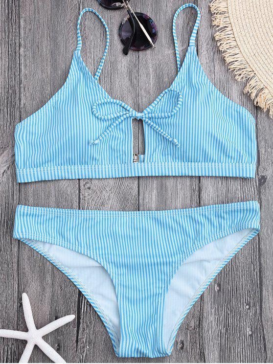 sale Cami Straps Padded Stripe Bikini - LIGHT BLUE M