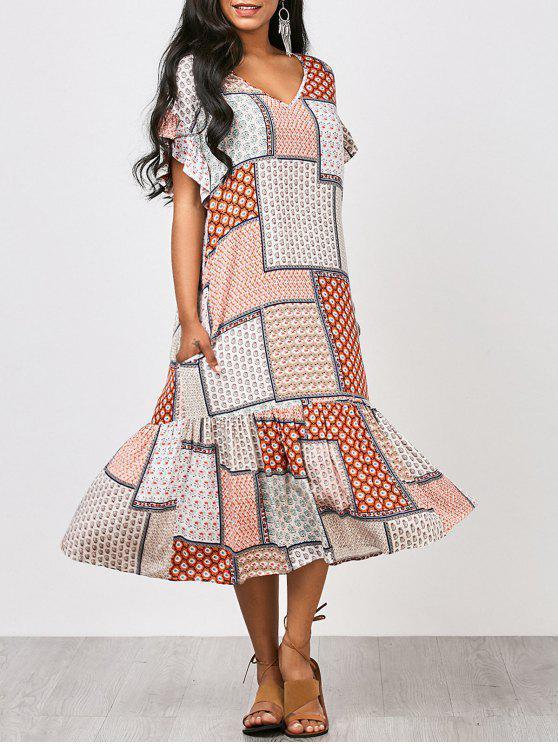 فستان كشكش طباعة القبلية ميدي - مزيج ملون XL