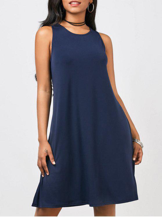 ركبة الطول A فستان مريبح بخط - الأرجواني الأزرق L