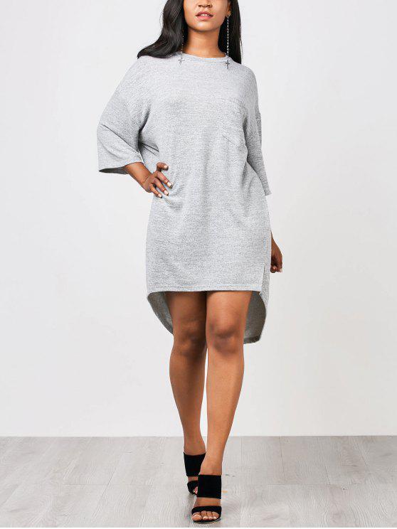 فستان عالية انخفاض مستقيم مع جيوب - اللون الرمادي M