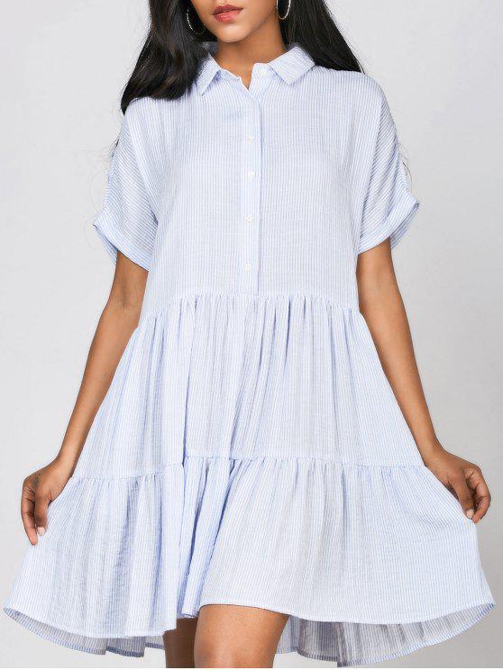 sale Ruffles Striped Casual Shirt Dress - STRIPE ONE SIZE