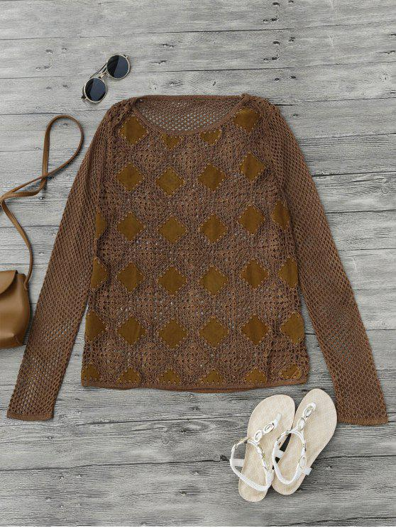 hot Suede Panel Crochet Cover Up - BROWN M