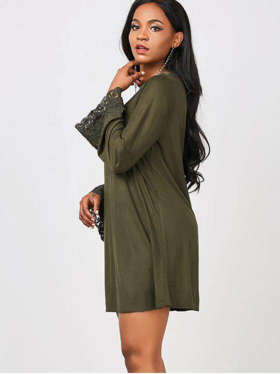 فستان تريم الدانتيل قطع طويلة الأكمام - الجيش الأخضر L