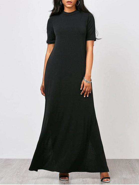 affordable High Neck Slit Maxi Prom Dress - BLACK S