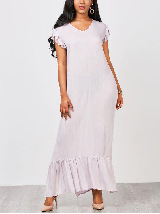 فستان مستقيم مريح كشكش ماكسي - ضوء ارجواني XL