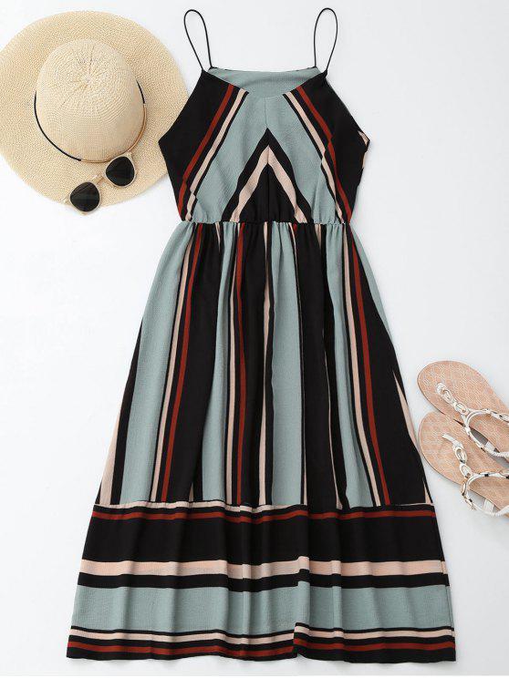فستان  الشمس متعددة الشريط كامي ميدي - الضوء الأزرق XL