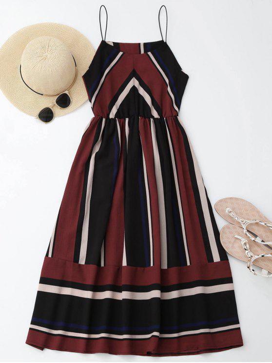 Robe de plage et d'été bretelle multi rayé longueur à genoux - Rouge vineux  XL