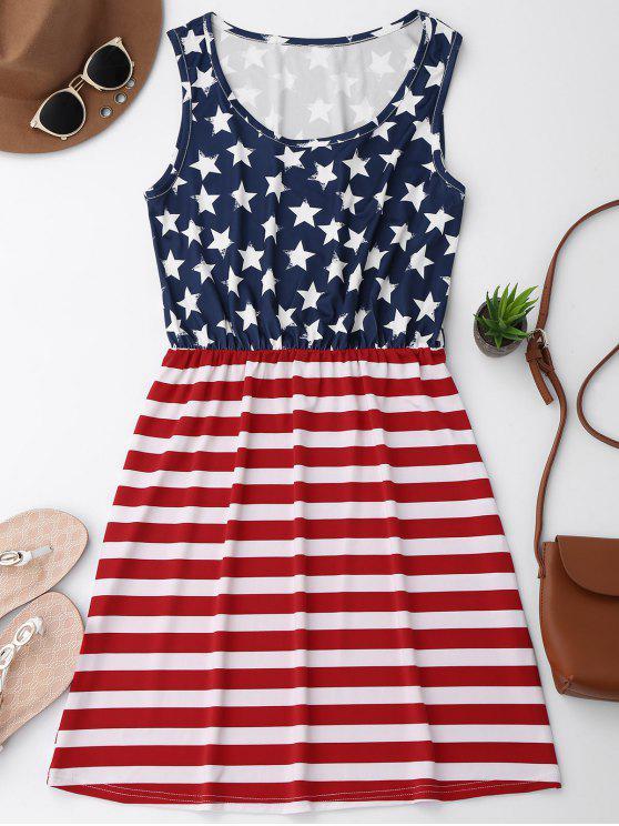 فستان مرونة الخصر وطني علم أمريكي - الأحمر مع الأبيض L