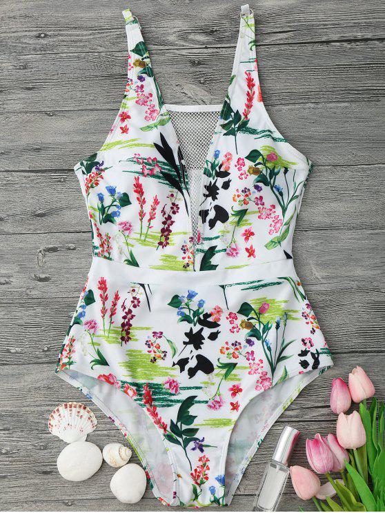Maillot de bain à une pièce imprimé de motif floral avec maille - Blanc S
