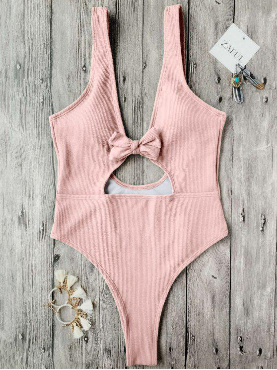 affordable Bowknot Textured High Cut One Piece Swimsuit - PINK S