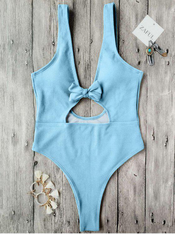 women Bowknot Textured High Cut One Piece Swimsuit - LIGHT BLUE S
