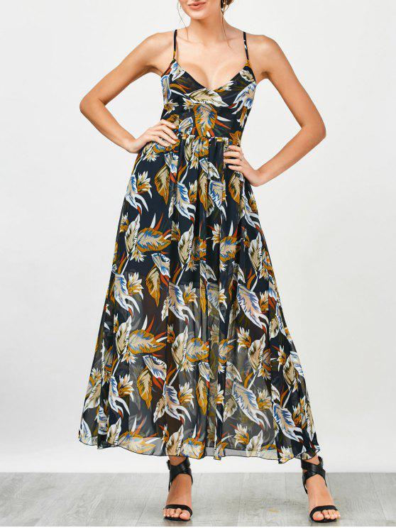 فستان بوهيمي طباعة الأزهار الشاطئ ماكسي الشيفون - الأزهار M