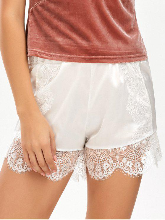 sale Eyelash Lace Insert Satin Shorts - WHITE ONE SIZE