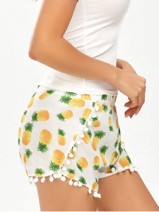 online Pineapple Print Pom Pom Hem Dolphin Shorts - WHITE XL
