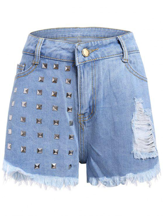 fancy Studed Frayed Denim Shorts - LIGHT BLUE S