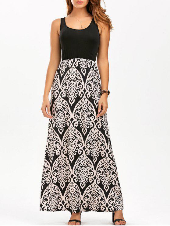 مطبوعة ماكسي سترة U فستان الرقبة - اللون البيج L