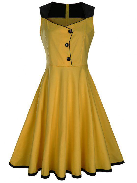 فستان بلا أكمام زر مطرز كلاسيكي - الأصفر M