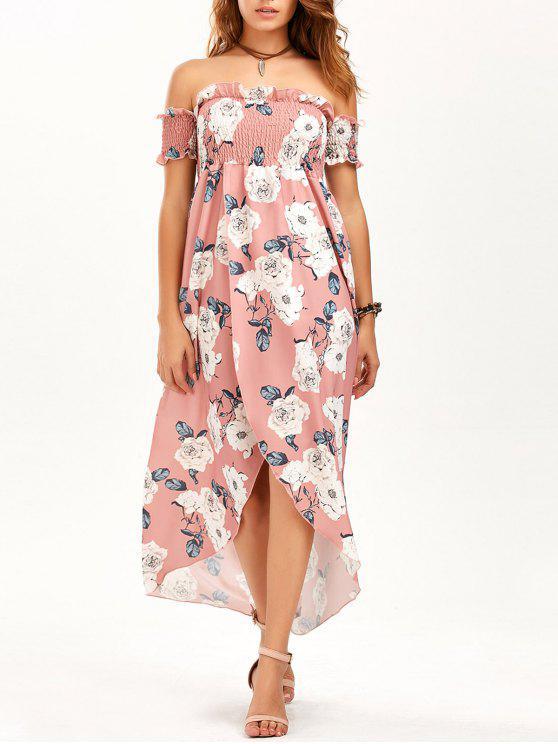 فستان ماكسي بلا اكتاف عالية انقسام طباعة الأزهار - زهري XL