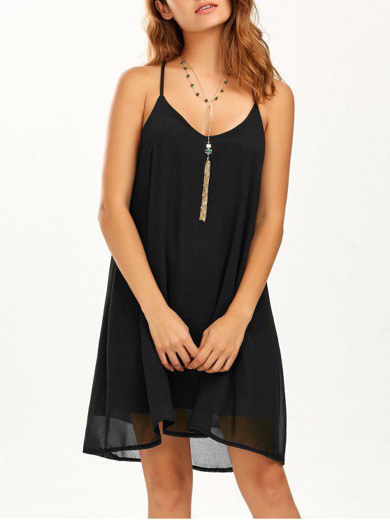 فستان شاطئ حزام السباغيتي شيفون قصير - أسود M