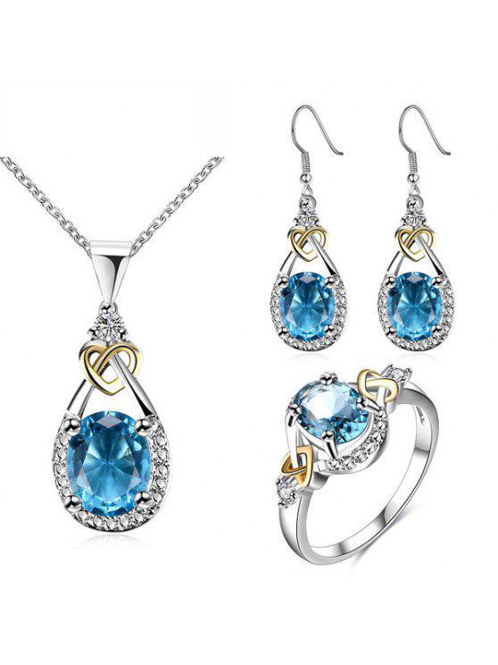 حجر الراين فو جوهرة القلب الدمعة والمجوهرات مجموعة - أزرق 8
