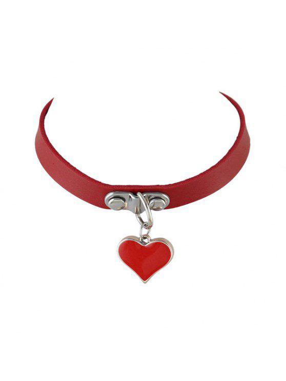 بو الجلود الحب القلب على شكل المختنق قلادة - أحمر