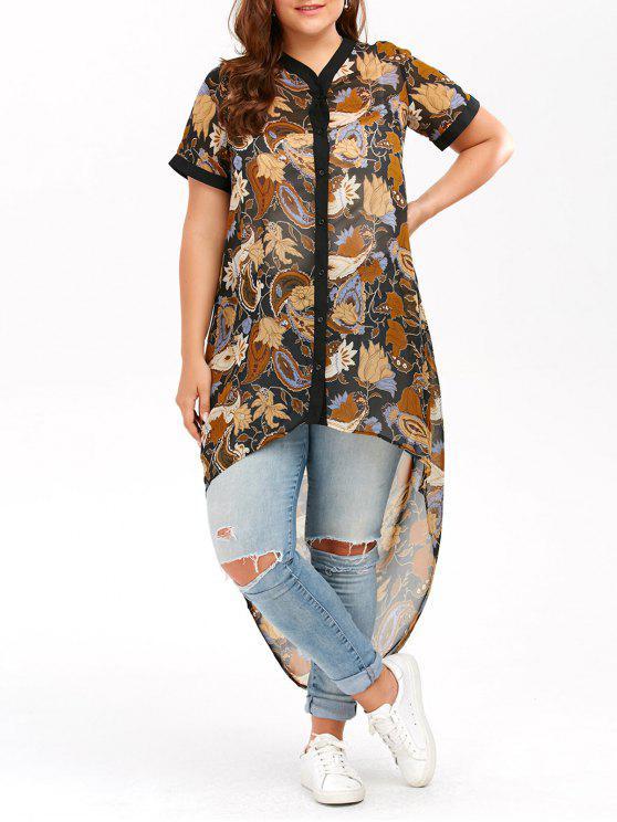 Haut en Mousseline Style Haut-Bas Grande-Taille - Jaune XL