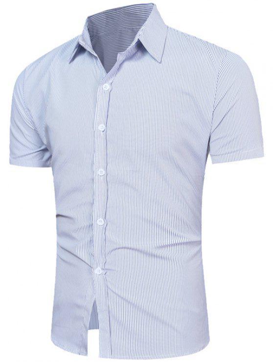 قميص قصير الأكمام العمودي - الضوء الأزرق M