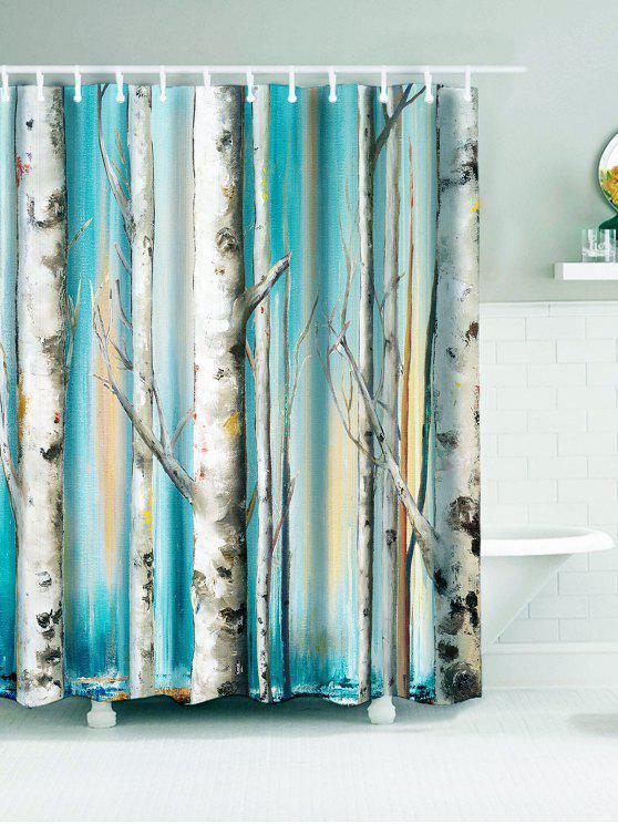 وينتيرلي الغابات طباعة ماء دش الستار - ازرق سماوي W71 بوصة * L71 بوصة