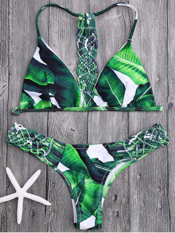 Ensemble Bikini Imprimé à Feuilles de Palmier à empiècement en Crochet - Vert M