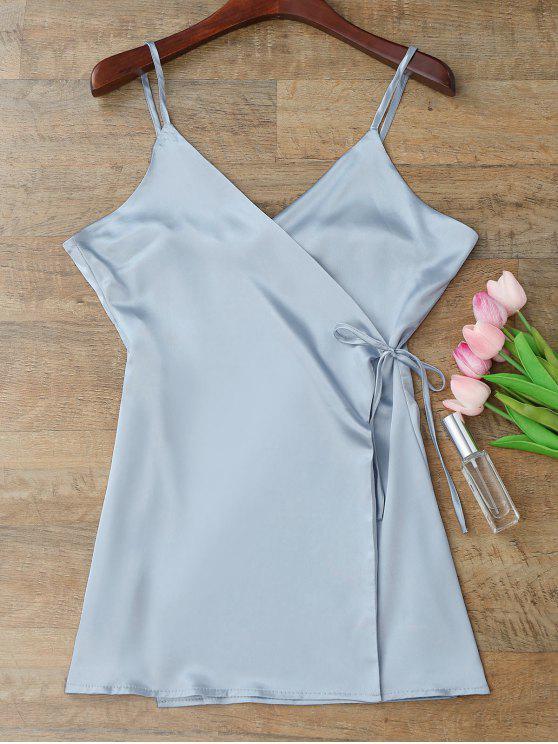 Robe Enveloppée Fendue à Bretelle - Bleu-gris L