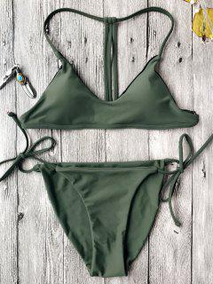 T Back Bralette String Bikini Set - Green M
