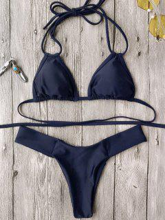Halter Plunge High Cut Bikini Set - Purplish Blue S