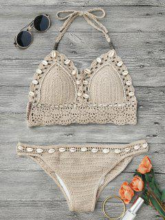 Beaded Seashell Crochet Bikini - Light Khaki S