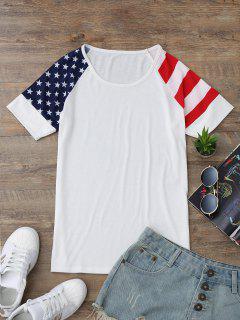 Raglan Sleeve Patriotic American Flag T-Shirt - White M