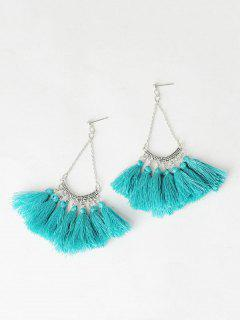 Fan-Shaped Tassel Chain Earrings - Blackish Green