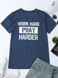 Crew Neck Slogan Print Graphic T-Shirt - Blue L