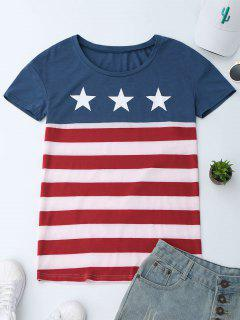 Scoop Neck Patriotic American Flag T-Shirt - L