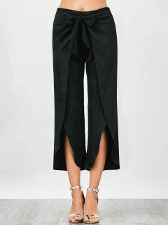 Wrap Slit Bowknot Pants - Black L