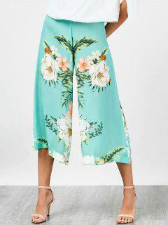 High Waisted Chiffon Floral Wide Leg Pants - Floral S