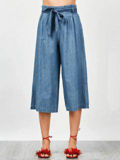 Tencel Bowknot Wide Leng Capri Pants - Denim Blue M